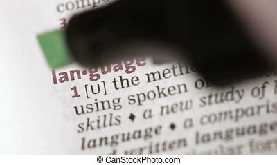 Definition of language highlighted in the dictionary