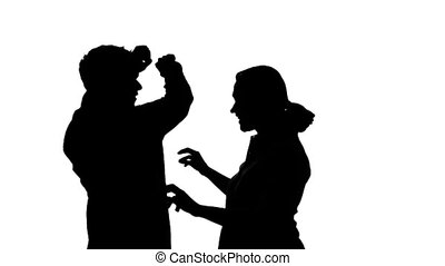 Couple Dancing Silhouette - Isolated silhouette of a couple...