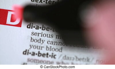 Definition of diabetes highlighted in the dictionary