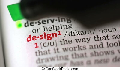 Definition of design highlighted in the dictionary