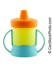 Baby cup- bottle on a white background