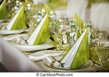 Festive table setting for wedding, Valentine or other event...