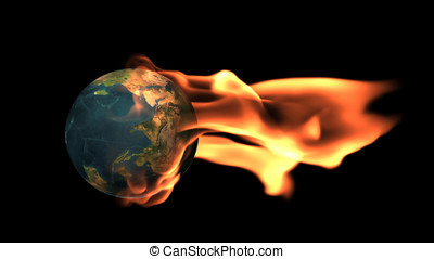 Earth surrounded by flames