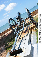 cannon - An artillery is located near the beach