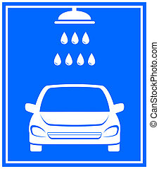 icon with car washing - blue icon with car washing and...