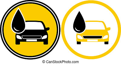 icons with car and fuel oil drop - two icons with car...