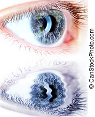 blue eye in macro with earth map on iris and water...