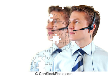 Male customer support service with unfinished puzzle on the...
