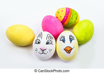 six Easter eggs in different colors and designs