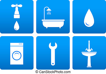 bath objects on blue background - set with bath objects on...