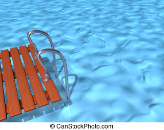 Swimming pool , 3d render