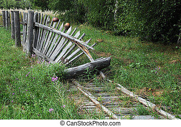 Old Broken Fence - Old broken wooden fence in the Russian...