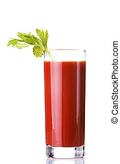 Tomato juice, bloody mary isolated on white