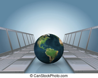 Laptop corridor with Earth globe