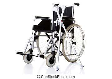Invalid chair, wheelchair and crutches- isolated on white...