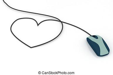 informatique, souris, coeur, Formé, câble