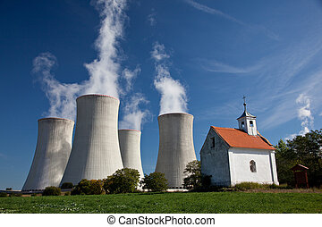 Cooling tower - Cooling towers of nuclear powerplant with...