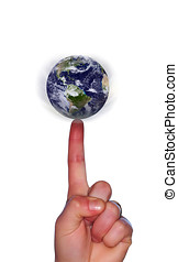 World at your finger tips - Earth spinning on a human finger...