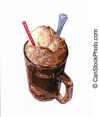 rootbeer float - an acrylic painting created by myself of an...
