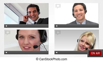 Live chat with customer service agents presented on four...