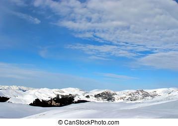 Winter scene with ski slope