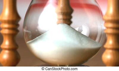 Sand flowing through hourglass with american flag background...