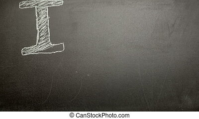 I love my dad message appearing drawn on blackboard with...