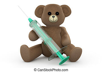 Syringe Teddy - A medical Teddy bear 3d rendered...