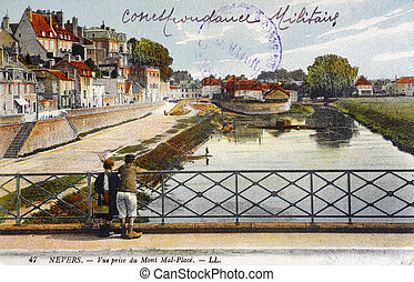 old postcard of Nevers, sight taken of the mount Mal-Place...
