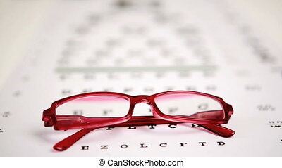 Focus shot on glasses lying on eye - Focus shot on red...