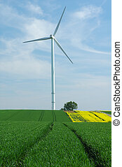 a windturbine into a green field France