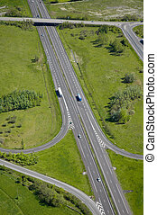 Aerial view of a motorway / Highway in France - Aerial view...