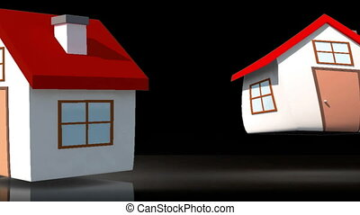 Animation of houses appearing with their roofs representing...