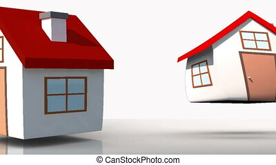 Animation of white houses appearing with their roofs...