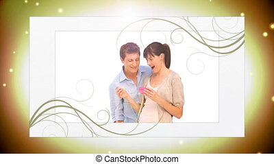 Montage of young couples in love on golden spark background