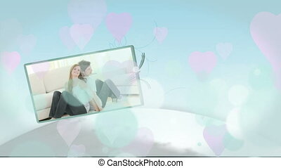 Montage of young couples in love at home on blue background...