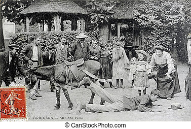 old postcard of Robinson, fall of donkey...