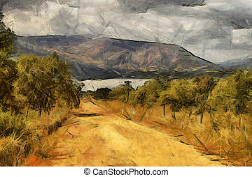 Gravel Road Leading to Dam Oil Painting - Gravel Road...