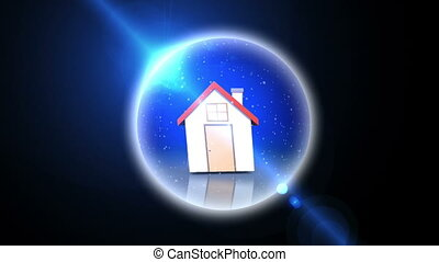 House in a snow globe animation on black background