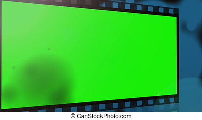 Movie strips with chroma key spaces burn away on blue...