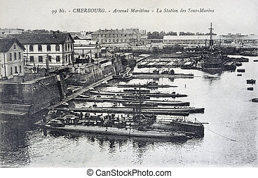 old postcard of Cherbourg, maritime arsenal, the station of...