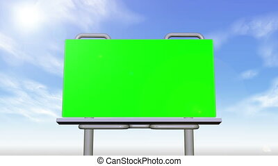 Billboard and signs presenting chroma key spaces on sky...