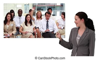 Business woman showing screen with business meeting on white...