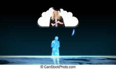Digital figurines revealing graduate students into clouds on...