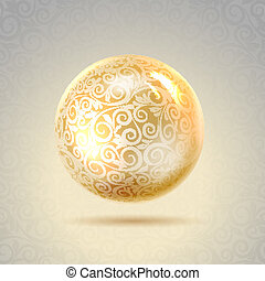 Golden shiny perl Golden sphere Vector illustration,...