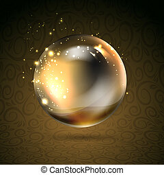 Golden shiny perl. Golden sphere. Vector illustration,...