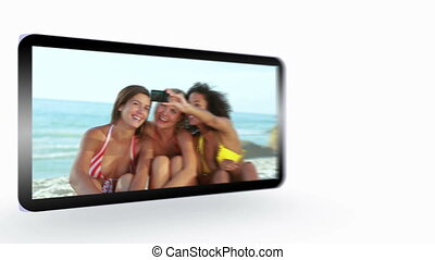 Montage of friends having fun at the beach presented on...