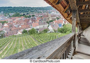 Esslingen am Neckar views from Castle stairs, Germany -...
