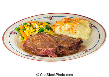 Pot Roast Dinner - Plate of hearty beef pot roast dinner...