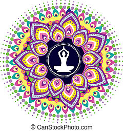 Yoga lotus posture graphic illustration style